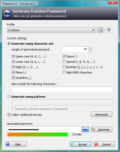 The password generator screen from KeyPass