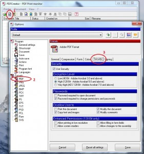 The security options in PDF creator are extensive but not the easiest to find
