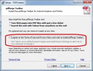 The PDF Forge toolbar is an option that I do not install