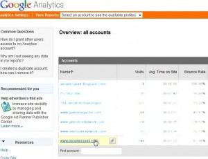 Select the Google Analytics Account you want to share