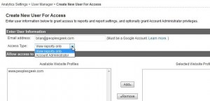 Choose the access your new user will have to your google analytics account