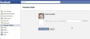Screen for adding a new administrator on facebook