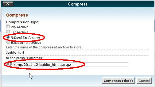 Choosing the file name and compression for a maintenance backup